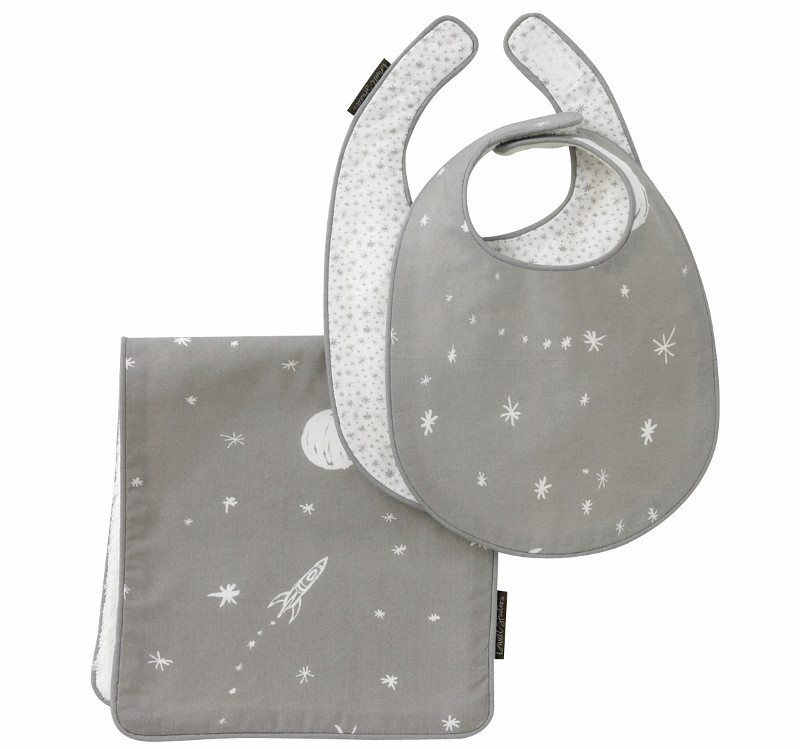 Quirks Marketing Philippines - DwellStudio Baby - 2PC Bib and Burp Set Galaxy Dove